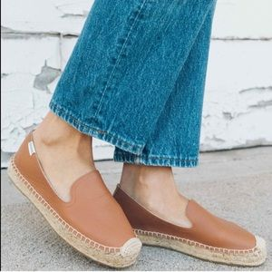 Soludos Tan Brown Leather Espadrille Loafer 7